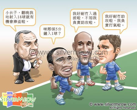 Football Comic May 08 - Mission Impossible:Avram Grant, Didier Drogba, Nicolas Anelka, Andriy Shevchenko