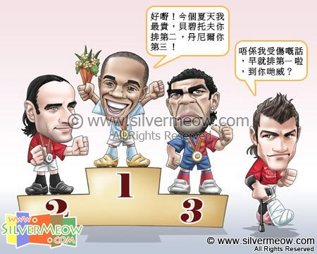 Football Comic Sep 08 - Winner In Transfer Market:Dimitar Berbatov, Robinho, Daniel Alves, Cristiano Ronaldo