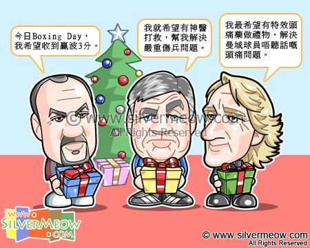 Football Comic Dec 09 - Boxing Day:Rafael Benitez, Carlo Ancelotti, Roberto Mancini