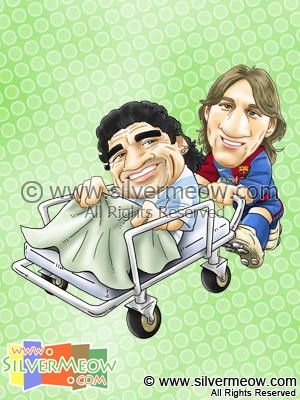 Soccer Player Caricature - Lionel Messi and Diego Maradona (Barcelona)