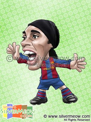 Soccer Player Caricature - Ronaldinho (Barcelona)