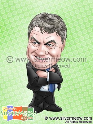 Soccer Player Caricature - Guus Hiddink (Chelsea)