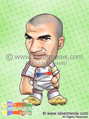Soccer Player Caricature - Zinedine Zidane (France)