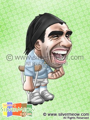 Soccer Player Caricature - Carlos Tevez (Manchester City)