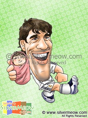 Soccer Player Caricature - Van Nistelrooy (Real Madrid)