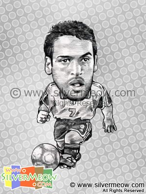 Soccer Player Caricature - Raul Gonzalez (Spain)